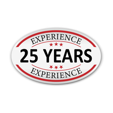 red vector illustration banner label experience 25 years