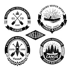 Set of vintage canoe badges labels, emblems and logo