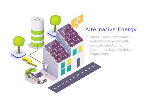 Alternative green energy vector web banner template