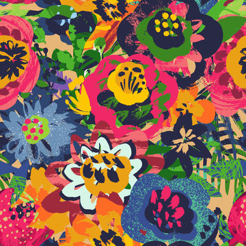 Vector seamless pattern with plants, leaves and flower bouquets with hand painted texture.