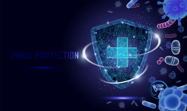 Virus protection vector web banner, website page template