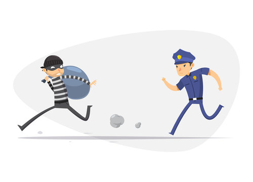 A thief is being chased by a police. Isolated Vector Illustration