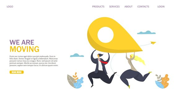 We are moving vector website landing page design template