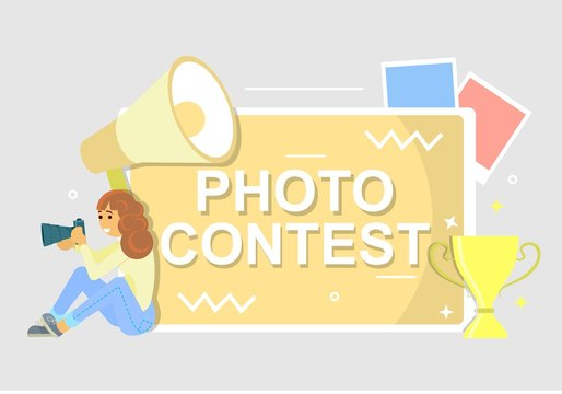 Photo contest poster, vector flat style design illustration