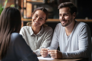 Smiling diverse hr managers listening female job candidature
