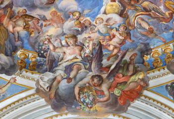 Obraz Fresk barokowy aniołów jako szczegół Koronacji Maryi Panny w kościele San Benedetto autorstwa Giovanniego Tuccari - fototapety do salonu