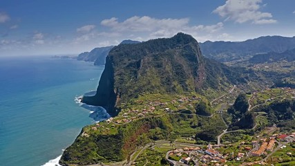 Fototapete - Beautiful mountain landscape of Madeira island, Portugal. Aerial view.