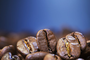 coffee beans against colorful background