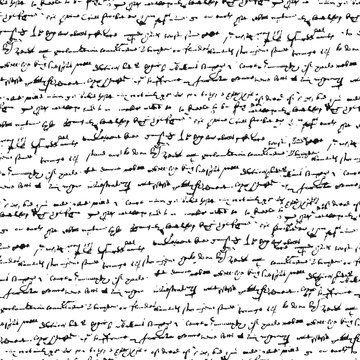 Unreadable handwritten text. Seamless vector texture for old books and manuscripts.