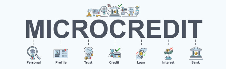 Microcredit banner web icon for business and financial. Bank, loan, profile, credit, trust and interest. Minimal vector infographic.