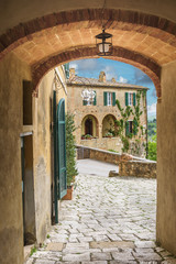Beautiful old streets in an abaBeautiful old streets in an abandoned romantic town in southern Tuscany. Lucignano d'Asso, Sienandoned romantic town in southern Tuscany.