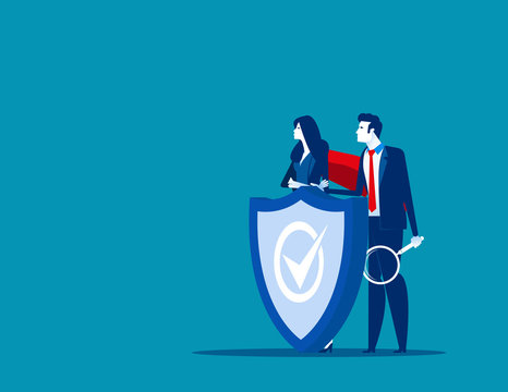 Program team and shield covering from attacks. Concept business vector illustration, Protection, Insurance, Technology.