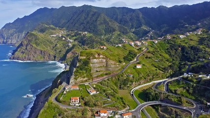 Wall Mural - Beautiful mountain landscape of Madeira island, Portugal. Aerial view.