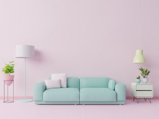 Colorful living room that Pastel color with sofa and room decoration. 3D rendering Fototapete
