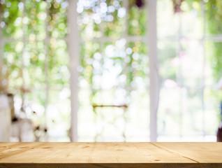 wood table top white garden bokeh background.
