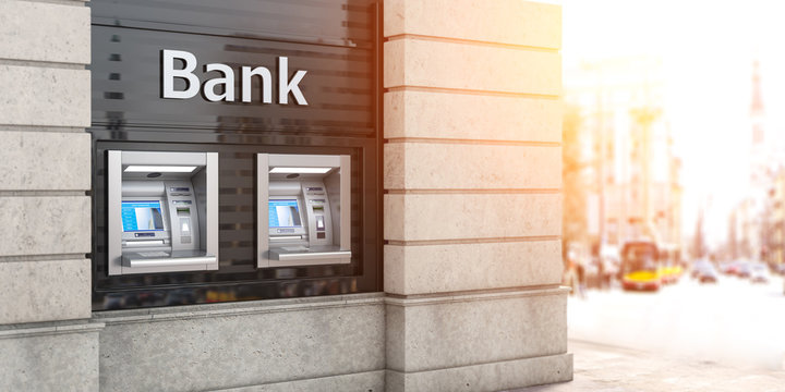 Bank ATM automatic  teller machines for money withdrawing. The station of self service automatic machines, Concept of banking.