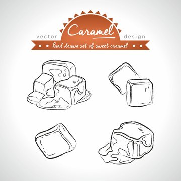 caramel. Hand drawn collection of vector sketch detailed sweetness. Isolated