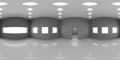 HDRI environment map, 360 degree image, abstract spherical panorama background, interior light source render in grey scales (3d illustration)