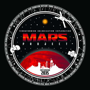 Mission to mars vector logo. Mars planet, space, sun and stars. For decoration, print or advertising.