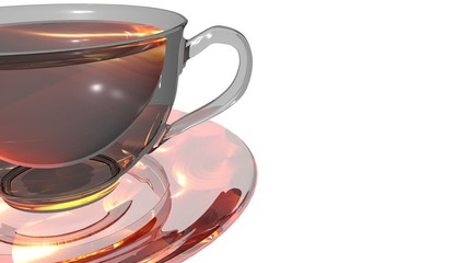 Shining glass cup of hot aromatic tea placed over a transparent saucer