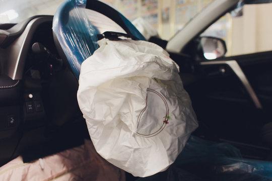 Car Crash air bag, blue, inscription airbag.