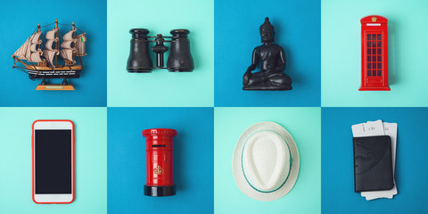 Travel and tourism concept with traveling accessories and souvenirs from around the world.