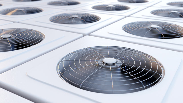 Group of HVAC units with fans close up