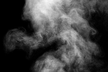 white smoke isolated, abstract powder, water spray on black background.