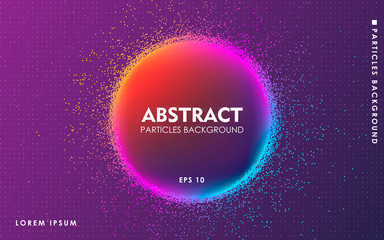 Dynamic abstract color particles background. Modern liquid flow dots elements.
