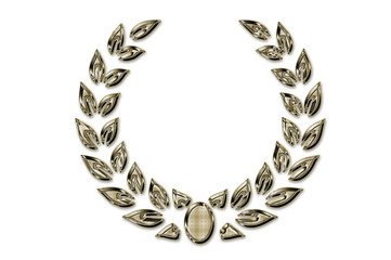 Golden wreath of laurels  on a white background