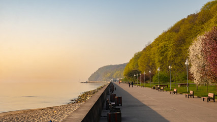 The seaside boulevard in Gdynia in the morning. Amazing concrete promenade near the beach at spring.