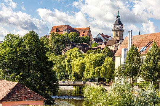 Backnang Biegel Rathaus. Stiftskirche und Stadtturm