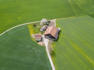 Aerial view of rural farm house Wall mural