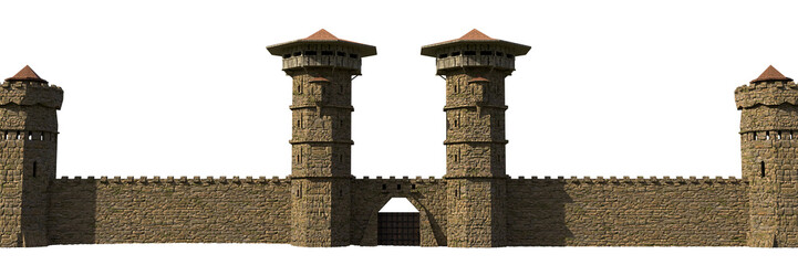 medieval castle wall with gate isolated on white background
