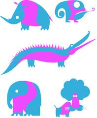 Animal icons isolated on white isolated.  Decor animal illustration set for design
