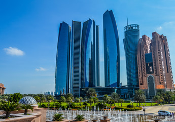 Canvas Prints Abu Dhabi Etihad towers,a series of five tall buildings and hotel in Abu Dhabi Corniche , UAE