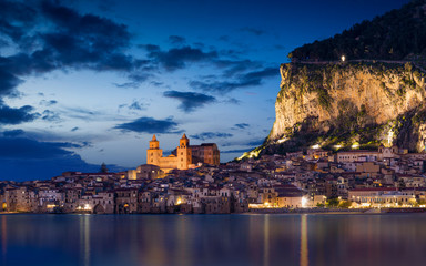 Night view of Cefalu, Sicily, Italy