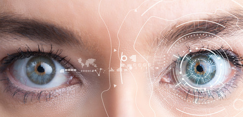 Iris recognition concept. Smart wearable eye-compatible computer.