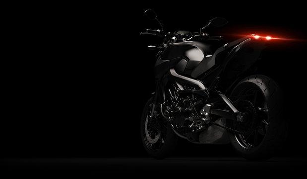 Black motorcycle detail part on dark background - 3D render