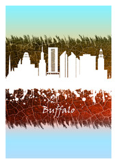 Fototapete - Buffalo skyline Blue and White