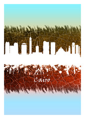 Wall Mural - Cairo skyline Blue and White