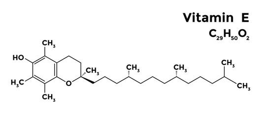 Alpha tocopherol, vitamin E structural chemical formula