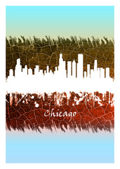 Wall Mural - Chicago Skyline Blue and White