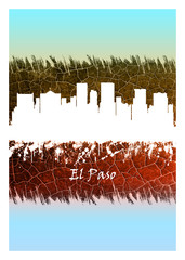 Wall Mural - El Paso Skyline Blue and White
