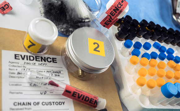 Several evidence numbered next to form in scientific laboratory, conceptual image