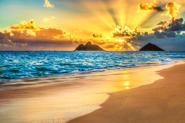 Fototapete - Sunrise at Lanikai Beach, Kailua, Oahu, Hawaii