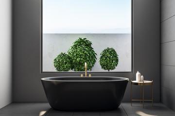 Luxury bathroom interior with plants