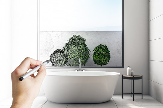Modern bathroom interior with plants
