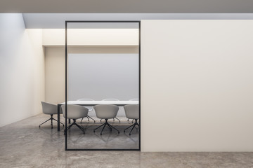 Bright white meeting room