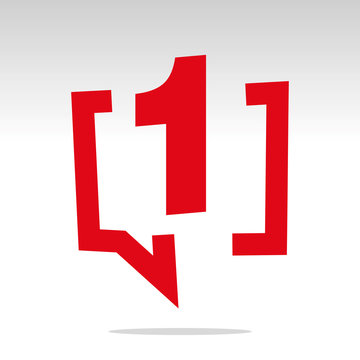 Number one 1 red speech brackets isolated logo icon sticker element